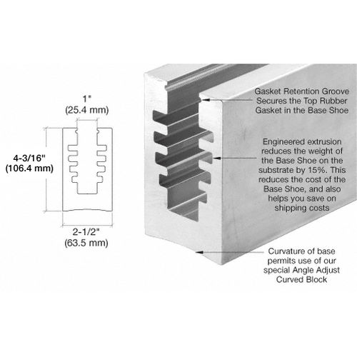 CRL B5A10 B5A Series Un-Drilled Bottom Mount SurfaceMate Square Base Shoe