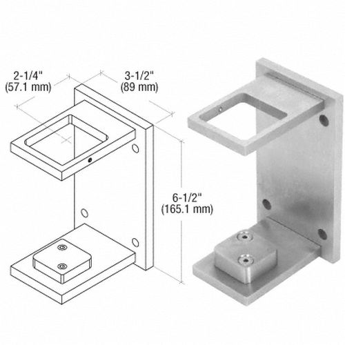 CRL CR2FBBS Square Standard Fascia Mount Bracket, Brushed Stainless