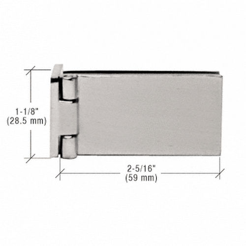 CRL EH85 Frameless Shower Door Hinge, Square Corner Style, Brushed Nickel