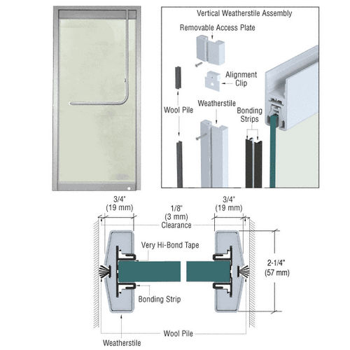 CRL W34BSS Vertical Weatherstile Kits, Brushed Stainless