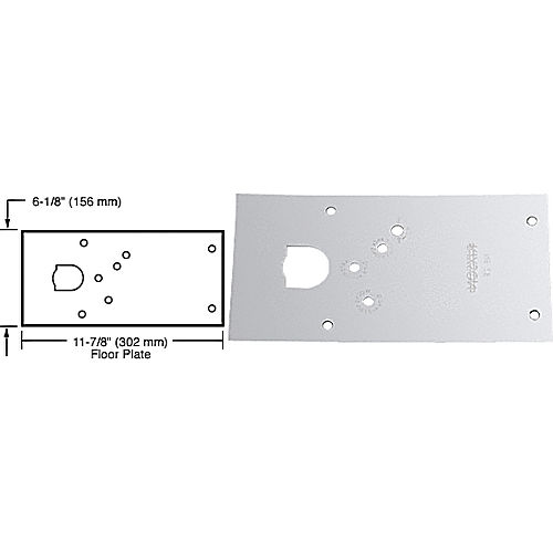 CRL 284720RHPC Rixson 28 Series Center-Hung RH Door Closer Cover Plate, Polished Chrome