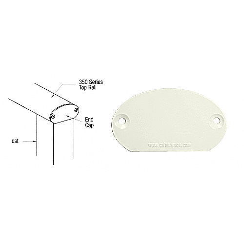 CRL 35DEC0W 350 Series Decorative End Cap, Oyster White
