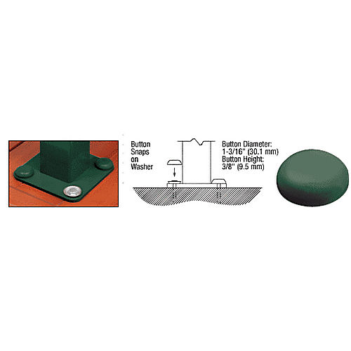 CRL BTN1GRN Forest Green Color Match Bolt Cover Buttons