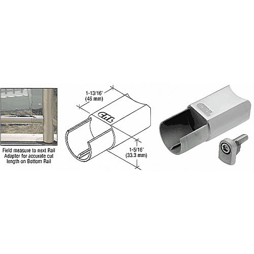 CRL CR15BABS CRS Rail Adaptor for Level Bottom Rails, Brushed Stainless