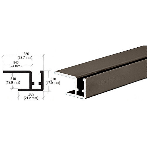 CRL D7009DURear Bottom Rail for Clover Showcase