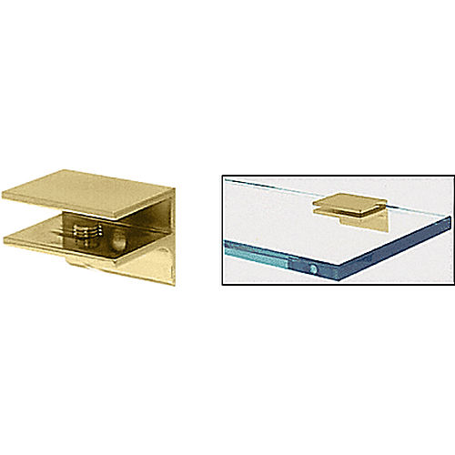 CRL EH134 Brass Square Interior Shower Shelf Clamp with Support Leg