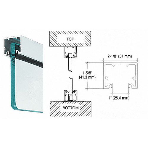 CRL NH3SA240 U-Channel With Top Load Roll-In Glazing Gasket, Satin Anodized