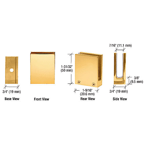 CRL EH14 Brass Face Plate Clamp for 1/4