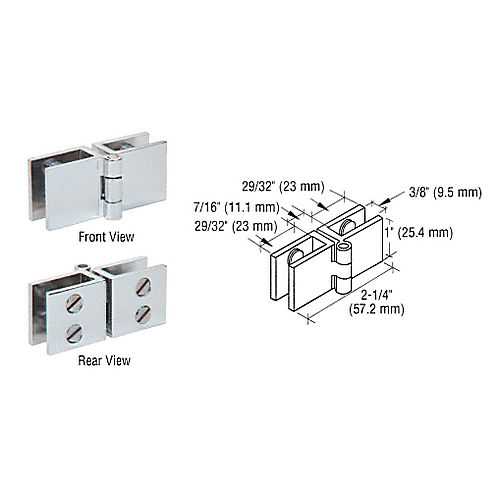 CRL EH160 Wide Face Glass-to-Glass Out-Swing Set Screw Hinge, Chrome