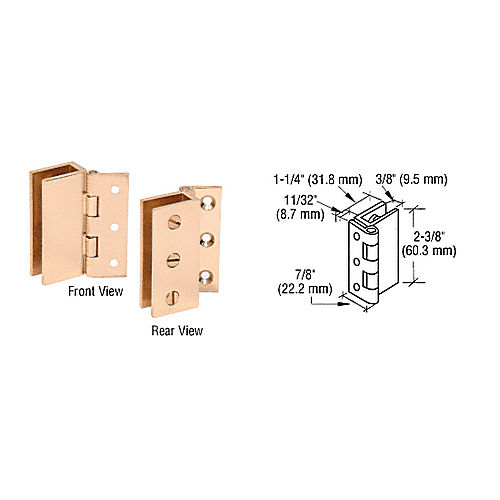 CRL EH170 Brass Large Wall Mount Set Screw Hinge