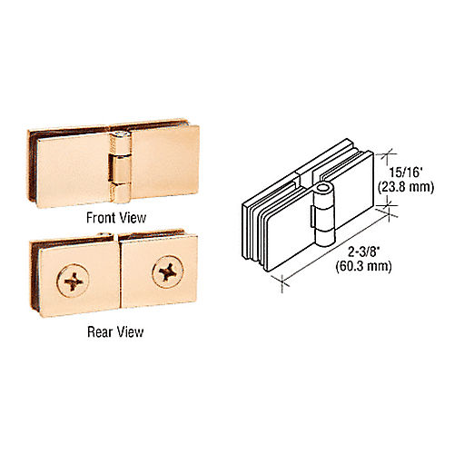CRL EH248 Brass Glass-to-Glass Inline Hinges