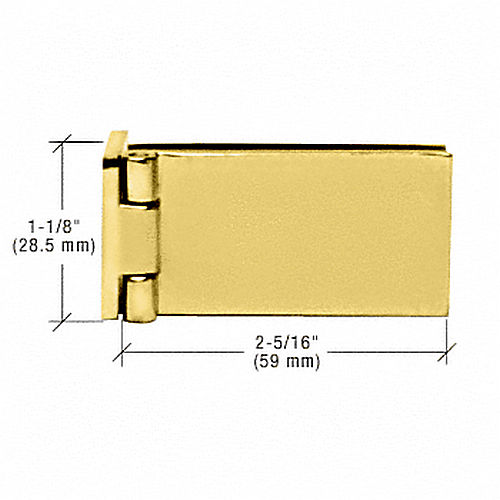 CRL EH86 Brass Frameless Shower Door Hinge, Square Corner Style