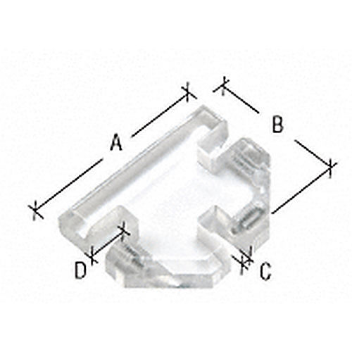 CRL HGC312 Acrylic 3-Way Heavy Glass Connector for 1/2