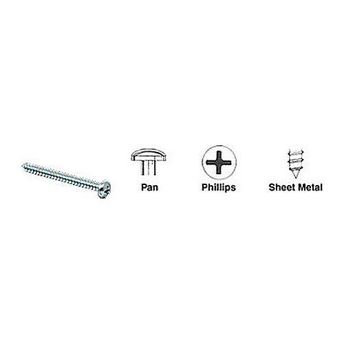 CRL 10X3PHPSMS Pan Head Phillips Sheet Metal Screws