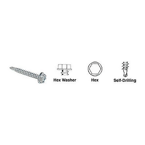 CRL 20152403 Hex Washer Head Self-Drilling Screws