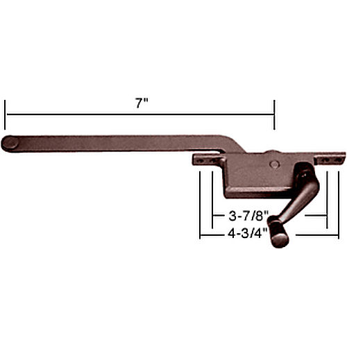 CRL 5257RHBRZ RH Square Series Casement Window Operator, Bronze