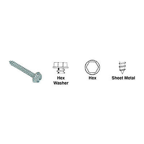 CRL 6X1HWSMS Hex Washer Head Sheet Metal Screws with 3/16