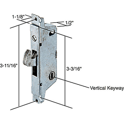CRL E2008 Square End Face Plate Mortise Lock 3-11/16
