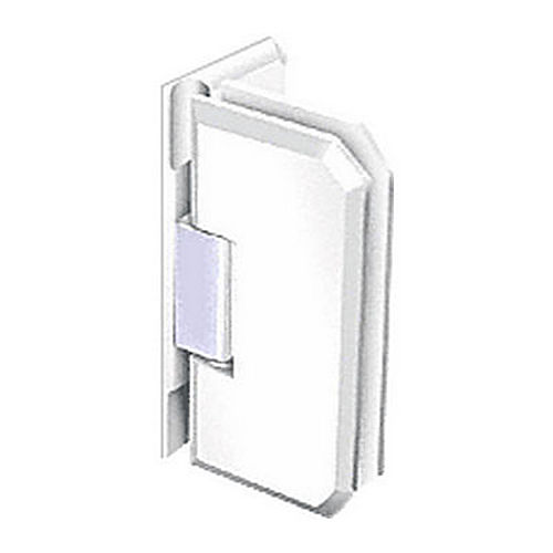 CRL M0N044WC Monaco 44 Series Wall Mount Offset Back Plate Hinge, White with Chrome Accent