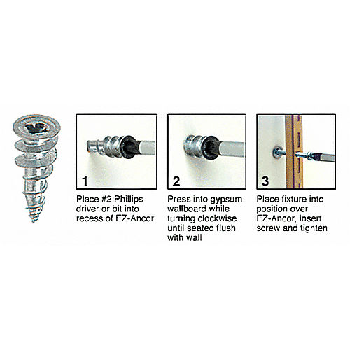 CRL 5000902 Zinc 41798 Screw Size EZ-Ancor for Drywall