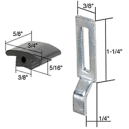 CRL A166 Sliding Screen Door Latch Strike with 1/4