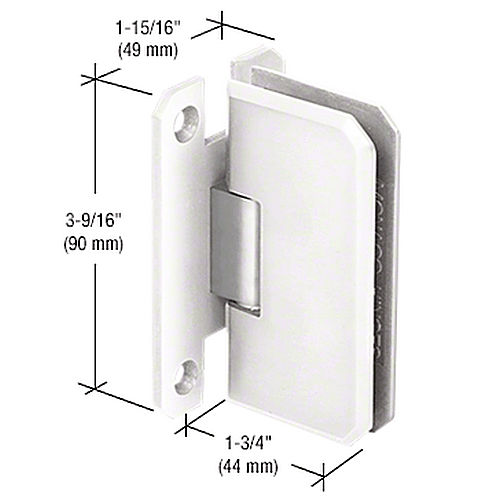 CRL M0N037WC Monaco 37 Series Wall Mount Hinge, White with Chrome Accent