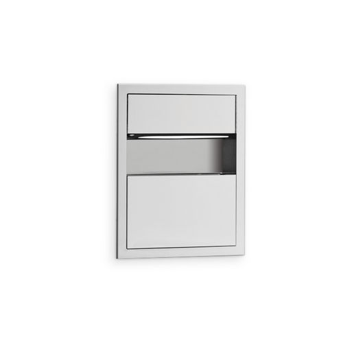 AJW U618 C-fold/Multifold Towel Dispenser & Waste Receptacle Combination, Recessed