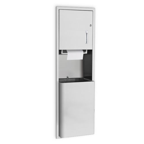 AJW U660AW-S6 Lever Operated Roll Towel Dispenser & Waste Receptacle, Semi-Recessed