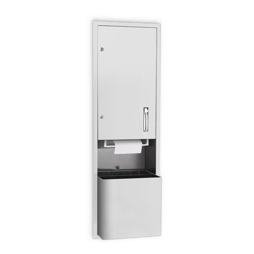 AJW U661AW-S2 Lever Operated Roll Towel Dispenser & Waste Receptacle, Semi-Recessed