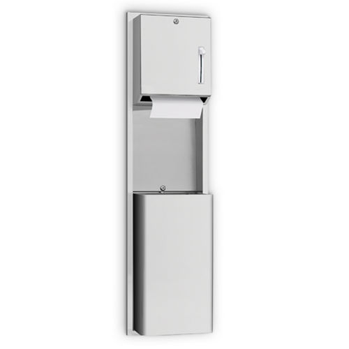AJW U671AW Lever Operated Roll Towel Dispenser & Waste Receptacle, Recessed
