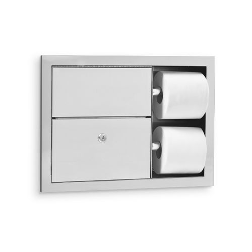 AJW U862 Dual Toilet Tissue Dispenser & Sanitary Napkin Disposal, Recessed
