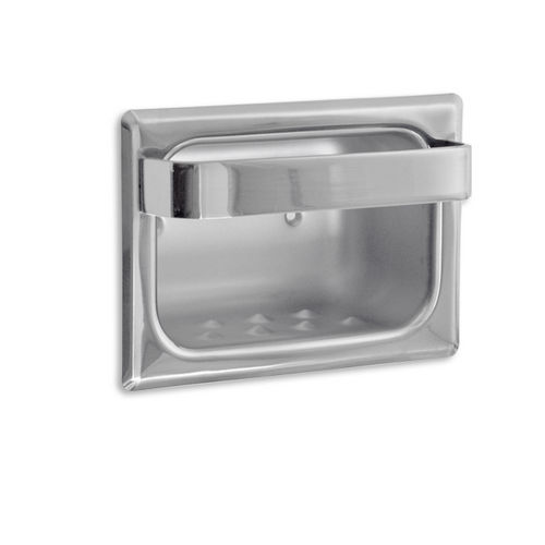 AJW UX83-BF Bright Soap Dish with Wash Cloth Bar and Mounting Holes, Recessed