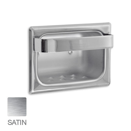 AJW UX83-SF Satin Soap Dish with Wash Cloth Bar and Mounting Holes- Recessed