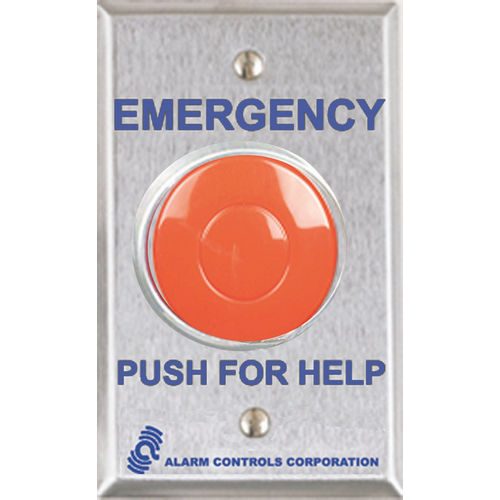 Alarm Controls PBL-3 Push Button Latching Panic with 2-N/C Contacts Stainless Steel, Single Gang