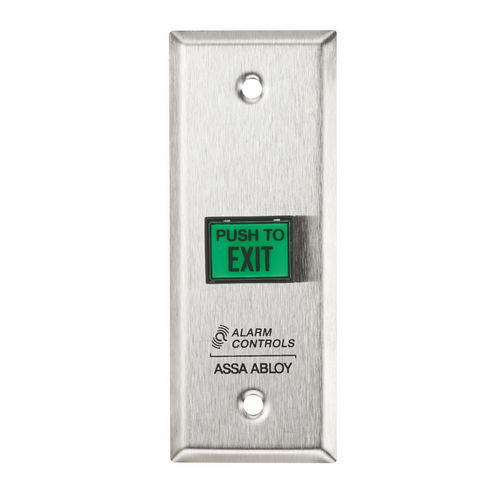 Alarm Controls TS9 Push Button Narrow Green Square Push to Exit Button Satin Stainless Steel