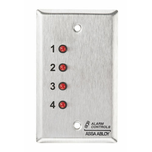 Alarm Controls ZP-4 Push Button Single Gang Stainless Steel 4 Red LED Screen