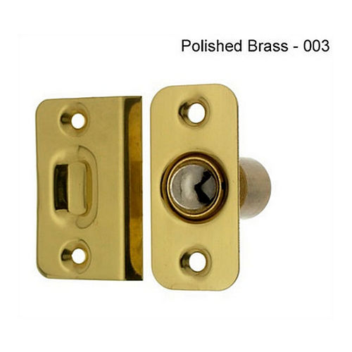 IDH 12012-3NL Wide Round Roller Ball Catch, Polished Brass No Lacquer