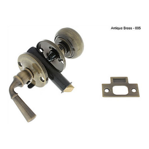 IDH 21250-005 Storm Screen Door Latch (Knob & Lever), Antique Brass