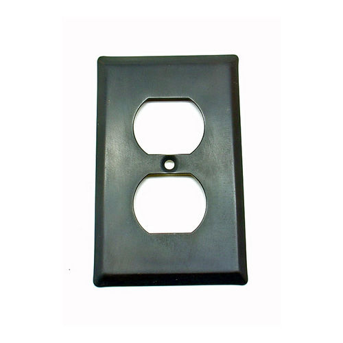 IDH 28014-019 Square Single Receptacle Plate, Matte Black