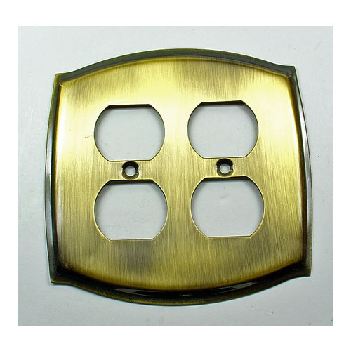 IDH 28048-003 Round Double Receptacle Plate, Polished Brass