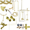 Kingston Brass CCK1182AX Vintage Clawfoot Tub Wall Mount Package with Metal Cross Handles, Polished Brass