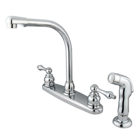 Kingston Brass GKB711ALSP Water Saving Victorian High Arch Kitchen Faucet  with Lever Handles and Sprayer, Chrome | TheBuildersSupply.com