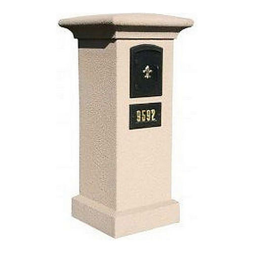 QualArc MAN-S-STUCOL-1401-SS Stucco Locking Column Sandstone with Scroll Door Logo