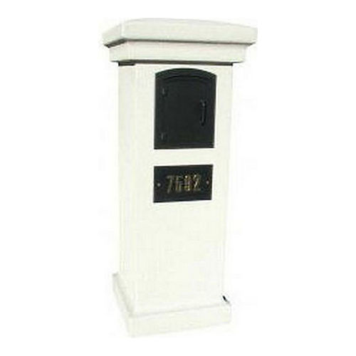 QualArc MAN-S-STUCOL-1402-GY Stucco Locking Column Slate Gray with Fleur De Lis Door