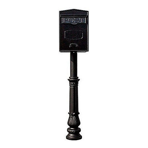 QualArc LSF-LS05-HPFRG-7-BLK Bloomsbury Rear Retrieval Mailbox with Hanford Post, Ornate Base, Black