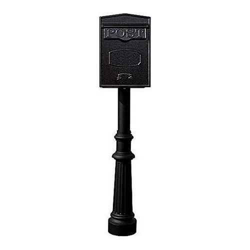 QualArc LSF-LS05-HPFRG-8-BLK Bloomsbury Rear Retrieval Mailbox with Hanford Post, Fluted Base, Black