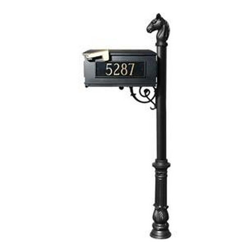 QualArc LMC-701-BL Lewiston Mailbox, Post (with Ornate Base & Horsehead Finial), Black