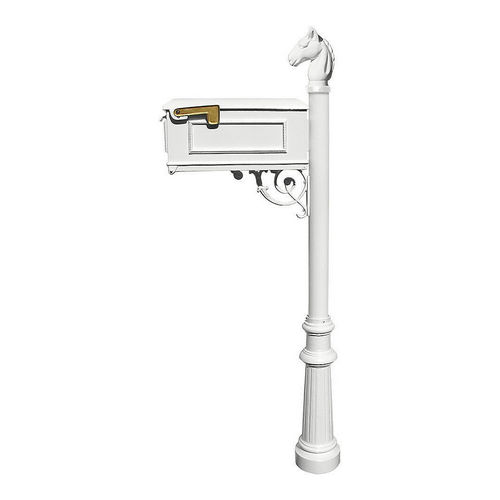 QualArc LM-801-LPST-WHT Lewiston Mailbox, Post (with Fluted Base & Horsehead Finial), White