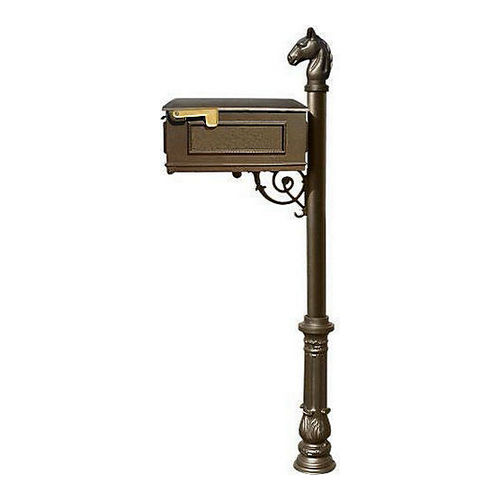 QualArc LM-701-LPST-BZ Lewiston Mailbox, Post (with Ornate Base & Horsehead Finial), Bronze