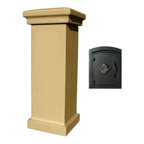 QualArc MAN-S-STUCOL-1401-BT Stucco Locking Column Burnt Tuscan with Scroll Door Logo